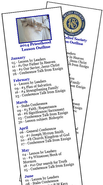2014 Relief Society and Priesthood Lesson Schedule Bookmarks