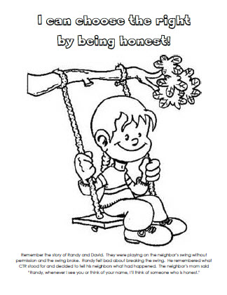 i can choose the right by being honest coloring page