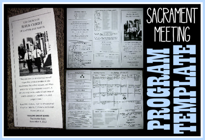 Tri Fold Sacrament Meeting Program Template